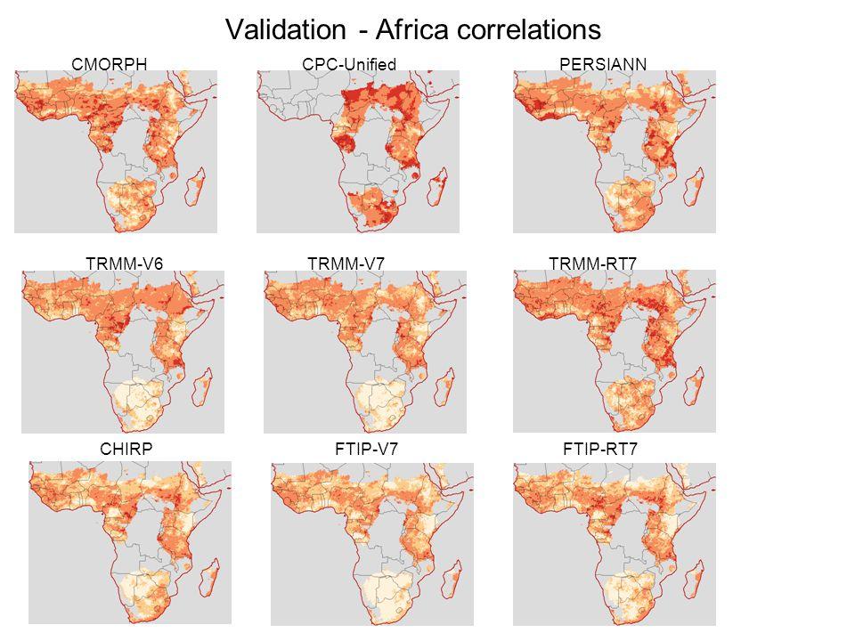 Validation - Africa correlations CMORPH CPC-Unified PERSIANN TRMM-V6 TRMM-V7 TRMM-RT7 CHIRP FTIP-V7 FTIP-RT7