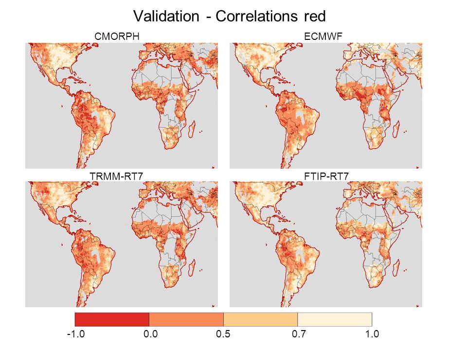 Validation - Correlations red CMORPH ECMWF TRMM-RT7 FTIP-RT7 -1.0 0.0 0.5 0.7 1.0