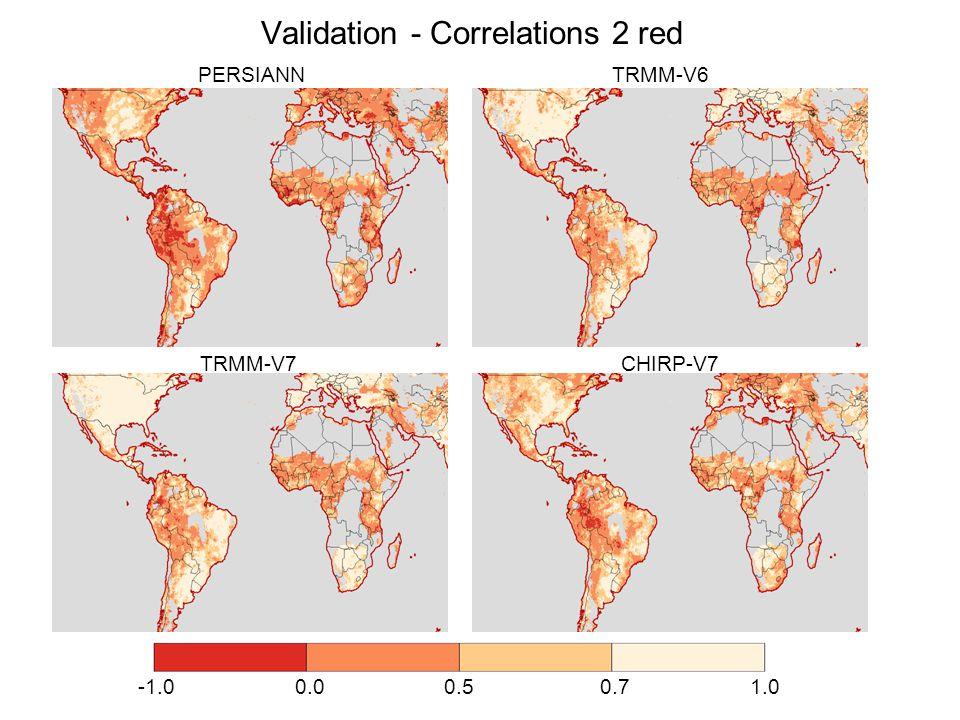 Validation - Correlations 2 red -1.0 0.0 0.5 0.7 1.0 PERSIANN TRMM-V6 TRMM-V7 CHIRP-V7