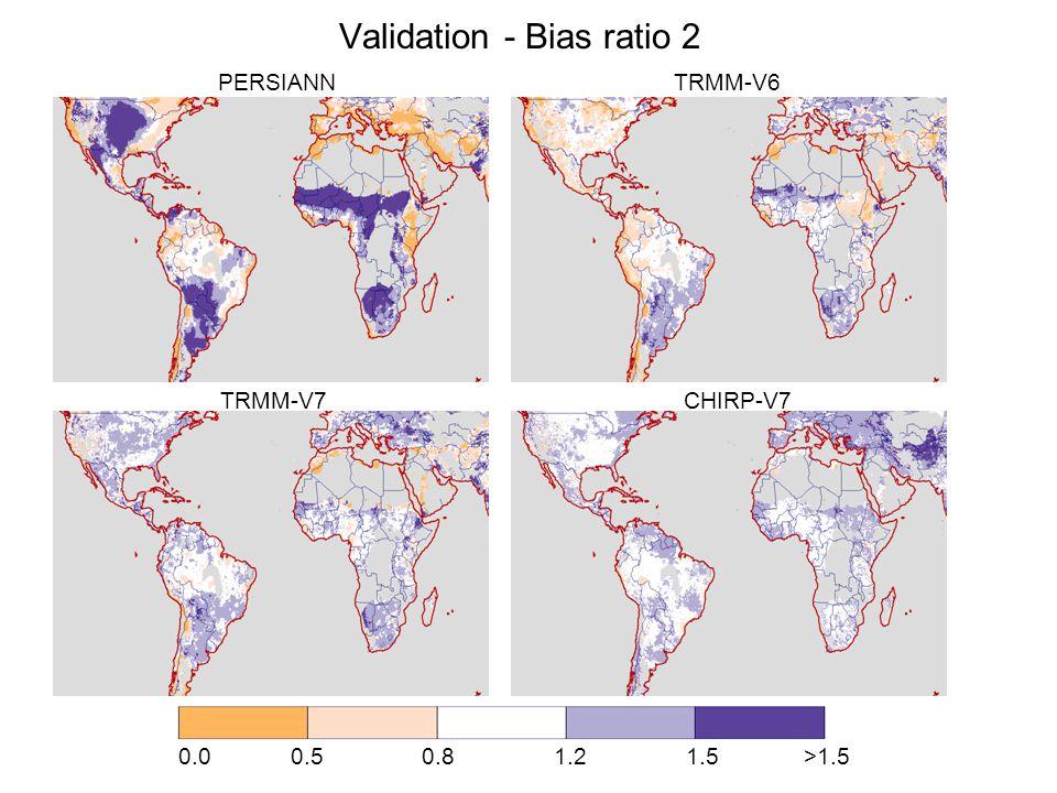 Validation - Bias ratio 2 0.0 0.5 0.8 1.2 1.5 >1.5 PERSIANN TRMM-V6 TRMM-V7 CHIRP-V7