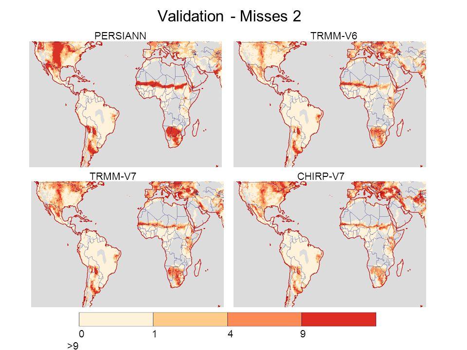 Validation - Misses 2 PERSIANN TRMM-V6 TRMM-V7 CHIRP-V7 0 1 4 9 >9