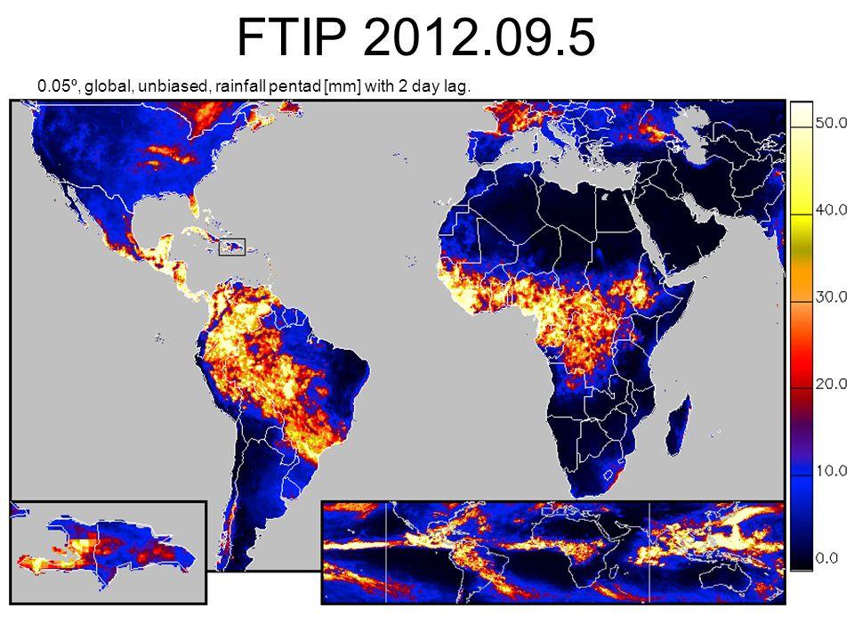FTIP 2012.09.5 0.05º, global, unbiased, rainfall pentad [mm] with 2 day lag.