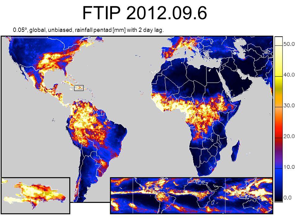 FTIP 2012.09.6 0.05º, global, unbiased, rainfall pentad [mm] with 2 day lag.