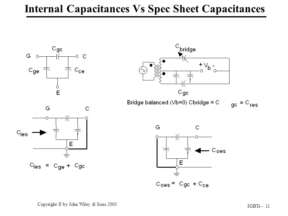 IGBTs - 11 Copyright © by John Wiley & Sons 2003 Internal Capacitances Vs Spec Sheet Capacitances