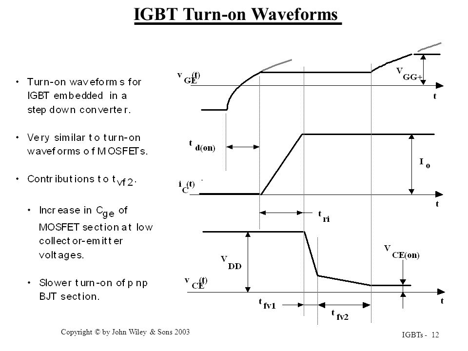 IGBTs - 12 Copyright © by John Wiley & Sons 2003 IGBT Turn-on Waveforms