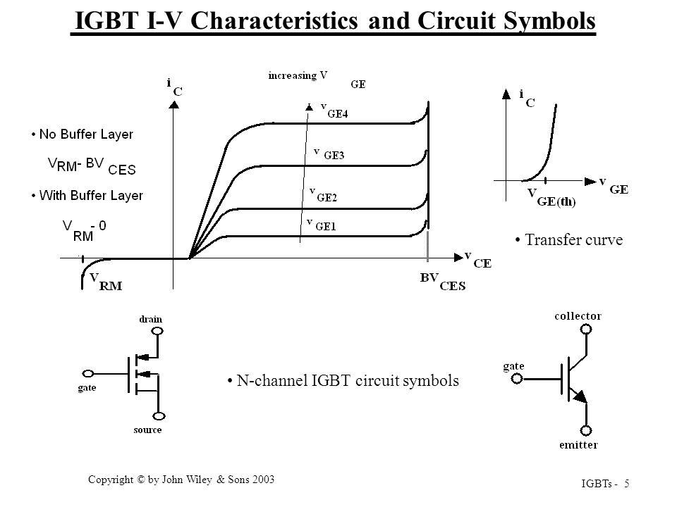 IGBTs - 5 Copyright © by John Wiley & Sons 2003 IGBT I-V Characteristics and Circuit Symbols Transfer curve Output characteristics N-channel IGBT circ