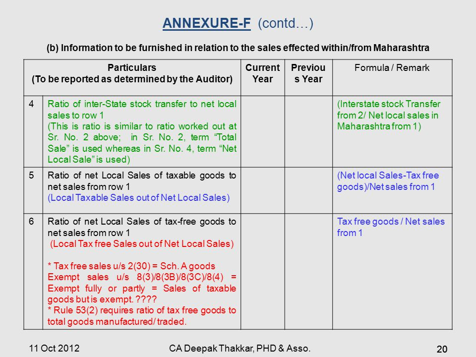 ANNEXURE-F(contd…) (b) Information to be furnished in relation to the sales effected within/from Maharashtra Particulars (To be reported as determined by the Auditor) Current Year Previou s Year Formula / Remark 4Ratio of inter-State stock transfer to net local sales to row 1 (This is ratio is similar to ratio worked out at Sr.