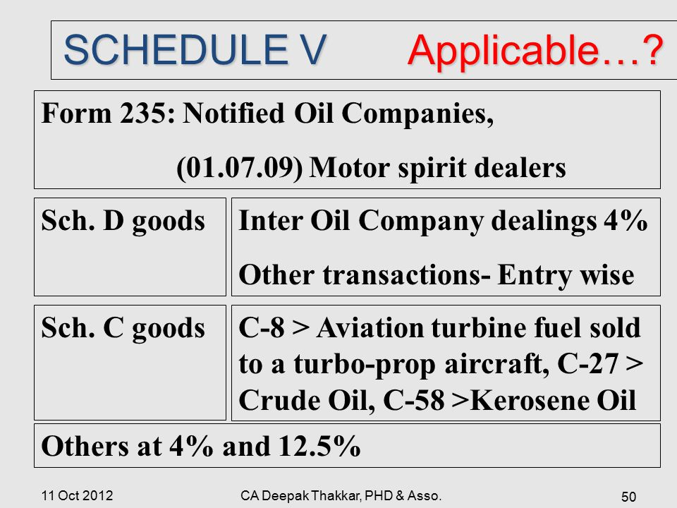SCHEDULE V Applicable….Form 235: Notified Oil Companies, (01.07.09) Motor spirit dealers Sch.