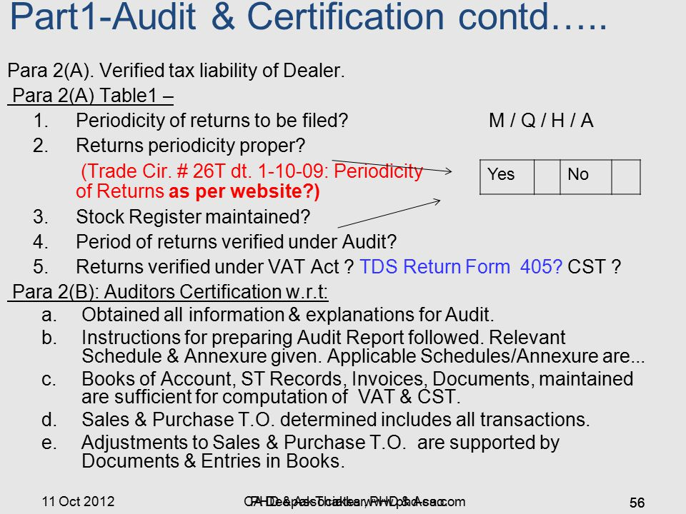 11 Oct 2012 Part1-Audit & Certification contd….. Para 2(A). Verified tax liability of Dealer. Para 2(A) Table1 – 1. Periodicity of returns to be filed