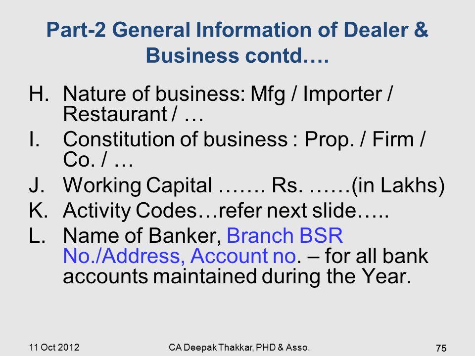 Part-2 General Information of Dealer & Business contd…. H.Nature of business: Mfg / Importer / Restaurant / … I.Constitution of business : Prop. / Fir