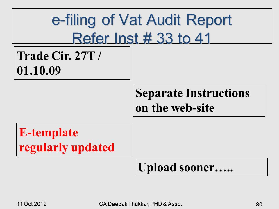 e-filing of Vat Audit Report Refer Inst # 33 to 41 Trade Cir.