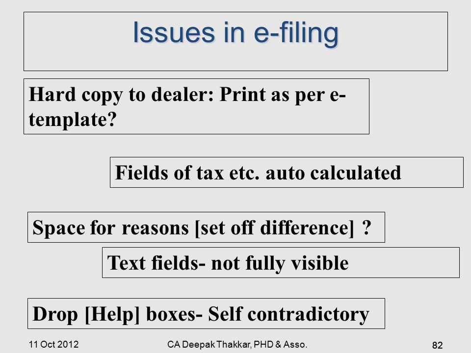 Issues in e-filing Hard copy to dealer: Print as per e- template.