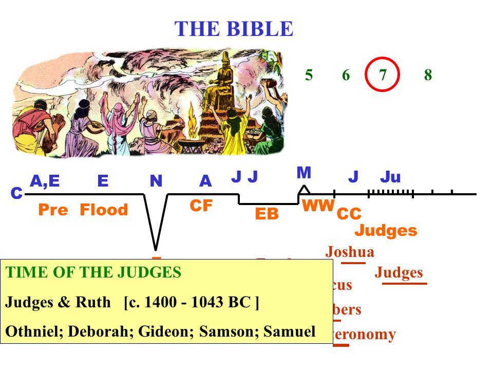 THE BIBLE 1 2 3 4 5 6 7 8 C A,EENA J M JJu Pre Flood F CF EB WW CC Judges Genesis Exodus Leviticus Numbers Deuteronomy Joshua Judges TIME OF THE JUDGES Judges & Ruth [c.