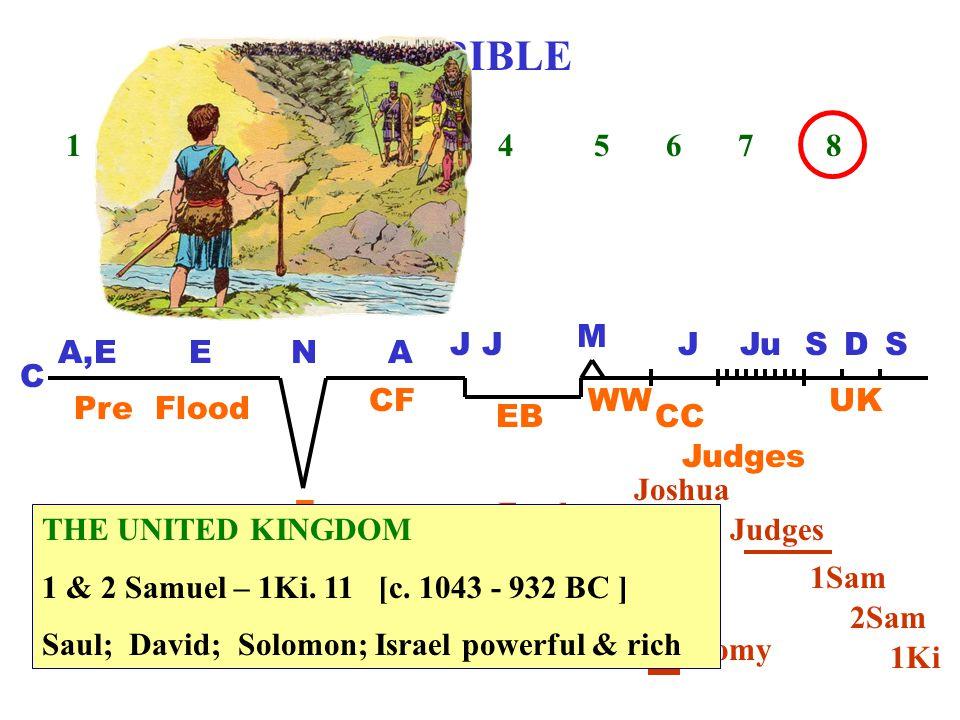THE BIBLE 1 2 3 4 5 6 7 8 C A,EENA J M JJu Pre Flood F CF EB WW CC Judges UK SDS Genesis Exodus Leviticus Numbers Deuteronomy Judges Joshua 1Sam 2Sam 1Ki THE UNITED KINGDOM 1 & 2 Samuel – 1Ki.
