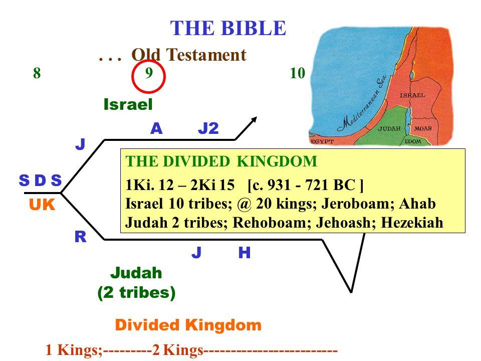 THE BIBLE 8 9 10 11 DSS J R UK Judah (2 tribes) Israel Divided Kingdom AJ2 J...