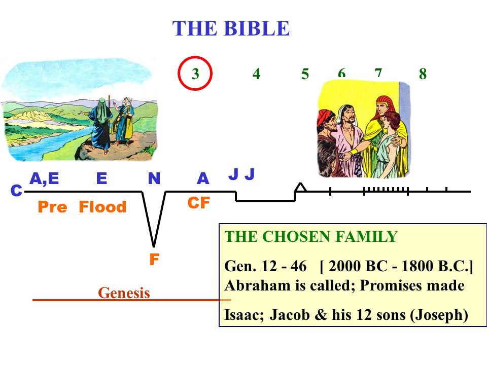 THE BIBLE 1 2 3 4 5 6 7 8 C A,EENA J Pre Flood F CF Genesis THE CHOSEN FAMILY Gen.