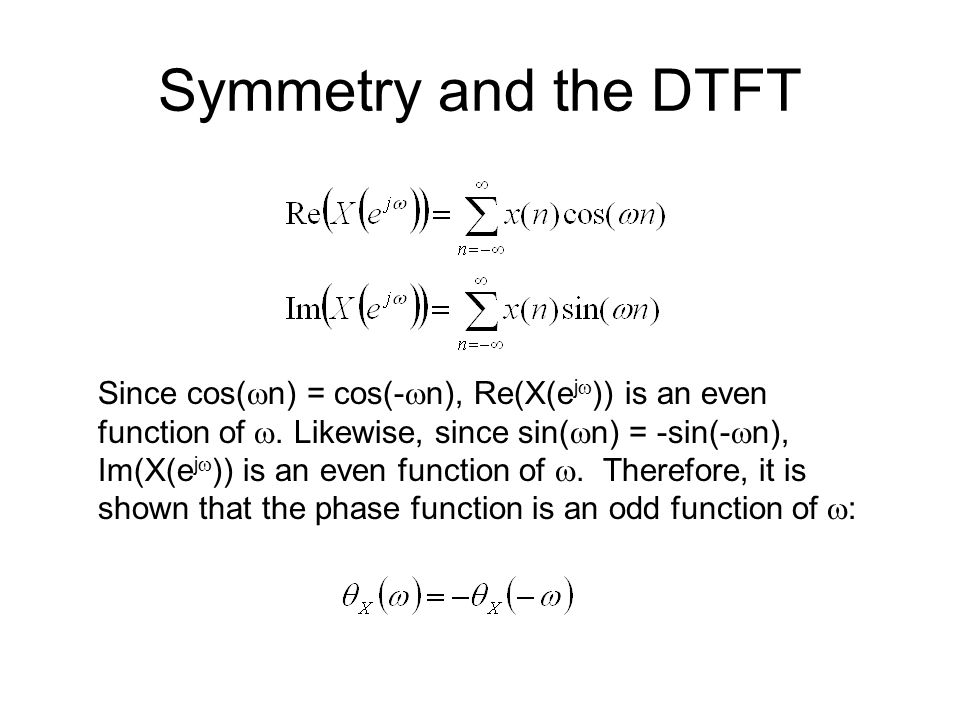 Symmetry and the DTFT Suppose x(n) has even symmetry about the origin: Then Which means that X(e j  ) is a real-valued function