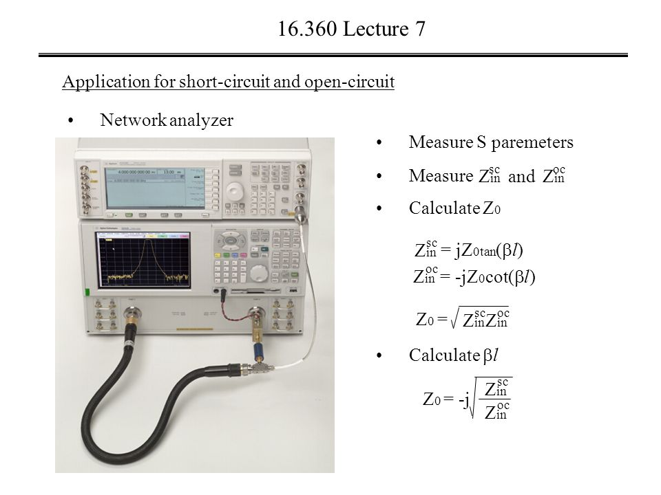 16.360 Lecture 7 Application for short-circuit and open-circuit Network analyzer Measure Z in oc Z in sc and Calculate Z 0 Measure S paremeters Z in = -jZ 0 cot(  l) oc Z in = jZ 0tan (  l) sc =Z0Z0 Z in sc Z in oc Calculate  l = -jZ0Z0 Z in sc Z in oc