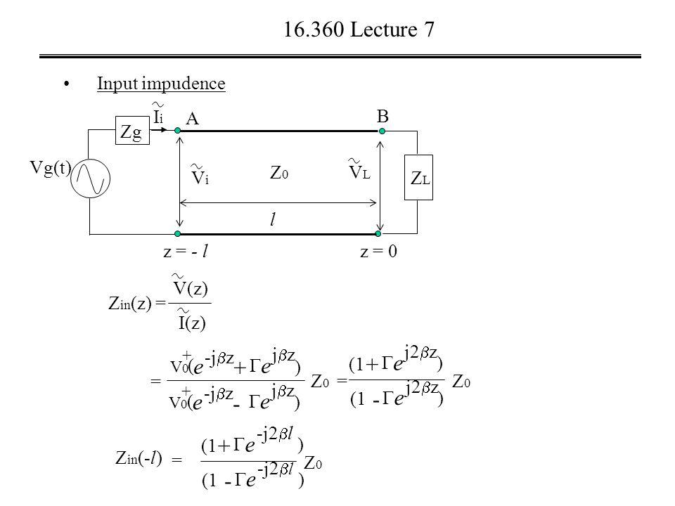 16.360 Lecture 7 Input impudence Vg(t) VLVL A z = 0 B l ZLZL z = - l Z0Z0 ViVi Zg IiIi Z in (z) = V(z) I(z) = + +  e jzjz e -j  z V0V0 ( ) + -  e jzjz e V0V0 ( ) Z0Z0 = + (1  e j2  z ) - (1  e j2  z ) Z0Z0 + (1  e -j2  l ) - (1  e -j2  l ) Z0Z0 Z in (-l) =