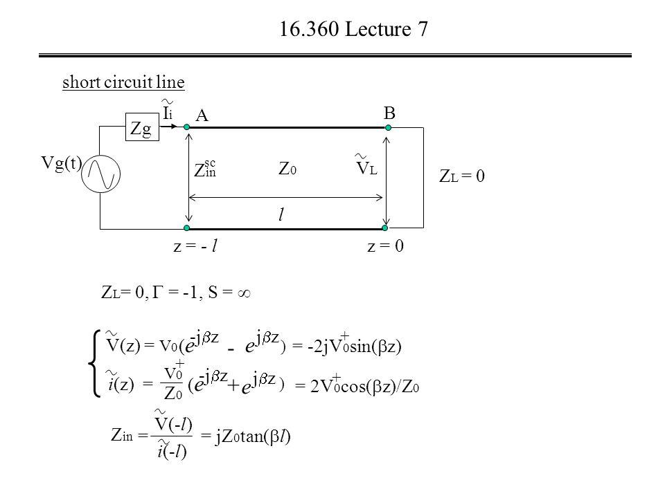 16.360 Lecture 7 short circuit line Z L = 0,  = -1, S =  Vg(t) VLVL A z = 0 B l Z L = 0 z = - l Z0Z0 Zg IiIi Z in sc i(z) = V(z) = V 0 ) - e jzjz + (e(e -j  z (e(e + V0V0 Z0Z0 e jzjz ) = -2jV 0 sin(  z) + = 2V 0 cos(  z)/Z 0 + Z in = V(-l) i(-l) = jZ 0 tan(  l)