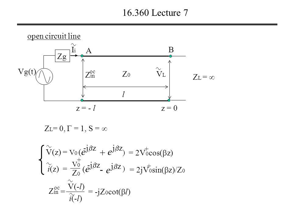 16.360 Lecture 7 open circuit line Z L = 0,  = 1, S =  Vg(t) VLVL A z = 0 B l Z L =  z = - l Z0Z0 Zg IiIi Z in oc i(z) = V(z) = V 0 ) + e jzjz - (e(e -j  z (e(e + V0V0 Z0Z0 e jzjz ) = 2V 0 cos(  z) + = 2jV 0 sin(  z)/Z 0 + Z in = V(-l) i(-l) = -jZ 0 cot(  l) oc