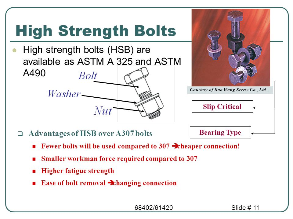68402/61420Slide # 11 High Strength Bolts High strength bolts (HSB) are available as ASTM A 325 and ASTM A490 Slip Critical Bearing Type Courtesy of K