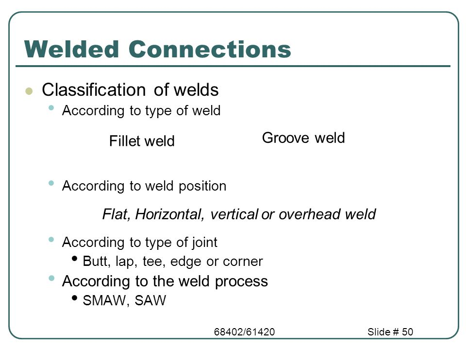 68402/61420Slide # 50 Welded Connections Classification of welds According to type of weld According to weld position According to type of joint Butt,