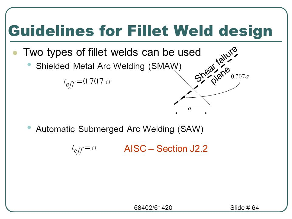 68402/61420Slide # 64 Guidelines for Fillet Weld design Two types of fillet welds can be used Shielded Metal Arc Welding (SMAW) Automatic Submerged Ar