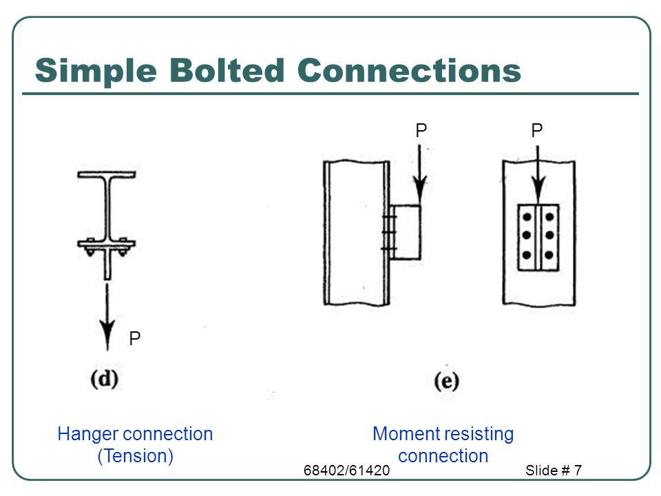 68402/61420Slide # 58 Fillet Weld Strength Stress in fillet weld = factored load/eff.