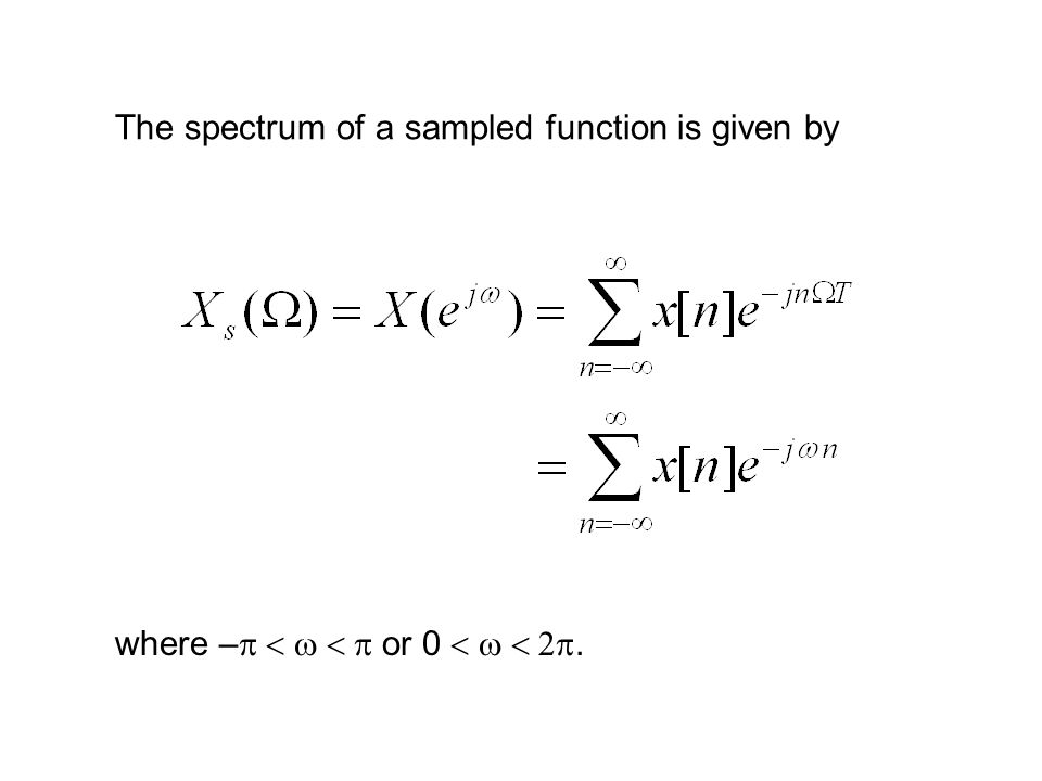 The spectrum of a sampled function is given by where –  or 0 .