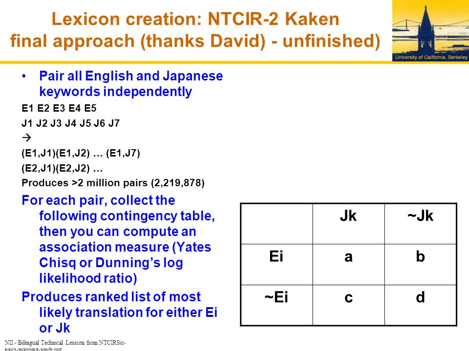 NII - Bilingual Technical Lexicon from NTCIRSic- naics-mapping-xmdr.ppt Lexicon creation: NTCIR-2 Kaken final approach (thanks David) - unfinished) Pair all English and Japanese keywords independently E1 E2 E3 E4 E5 J1 J2 J3 J4 J5 J6 J7  (E1,J1)(E1,J2) … (E1,J7) (E2,J1)(E2,J2) … Produces >2 million pairs (2,219,878) For each pair, collect the following contingency table, then you can compute an association measure (Yates Chisq or Dunning's log likelihood ratio) Produces ranked list of most likely translation for either Ei or Jk Jk~Jk Eiab ~Eicd