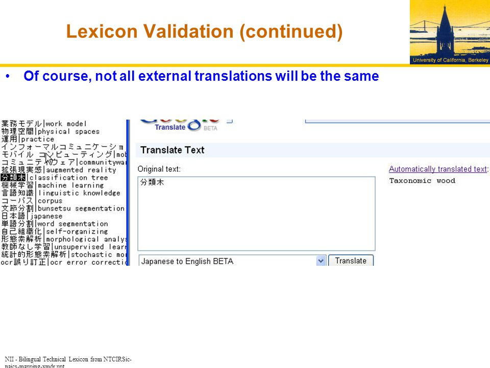 NII - Bilingual Technical Lexicon from NTCIRSic- naics-mapping-xmdr.ppt Lexicon Validation (continued) Of course, not all external translations will be the same