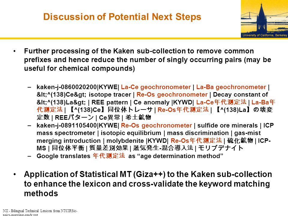 NII - Bilingual Technical Lexicon from NTCIRSic- naics-mapping-xmdr.ppt Discussion of Potential Next Steps Further processing of the Kaken sub-collection to remove common prefixes and hence reduce the number of singly occurring pairs (may be useful for chemical compounds) –kaken-j-0860020200|KYWE| La-Ce geochronometer | La-Ba geochronometer | <^(138)Ce> isotope tracer | Re-Os geochronometer | Decay constant of <^(138)La> | REE pattern | Ce anomaly |KYWD| La-Ce 年代測定法 | La-Ba 年 代測定法 | 【 ^(138)Ce 】同位体トレーサ | Re-Os 年代測定法 | 【 ^(138)La 】の壊変 定数 | REE パターン | Ce 異常 | 希土鉱物 –kaken-j-0891105400|KYWE| Re-Os geochronometer | sulfide ore minerals | ICP mass spectrometer | isotopic equilibrium | mass discrimination | gas-mist merging introduction | molybdenite |KYWD| Re-Os 年代測定法 | 硫化鉱物 | ICP- MS | 同位体平衡 | 質量差別効果 | 蒸気発生 - 混合導入法 | モリブデナイト –Google translates 年代測定法 as age determination method Application of Statistical MT (Giza++) to the Kaken sub-collection to enhance the lexicon and cross-validate the keyword matching methods