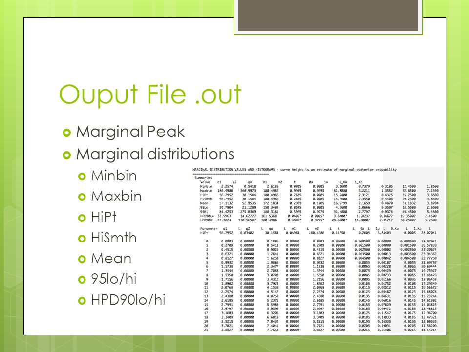 Ouput File.out  Marginal Peak  Marginal distributions  Minbin  Maxbin  HiPt  HiSmth  Mean  95lo/hi  HPD90lo/hi