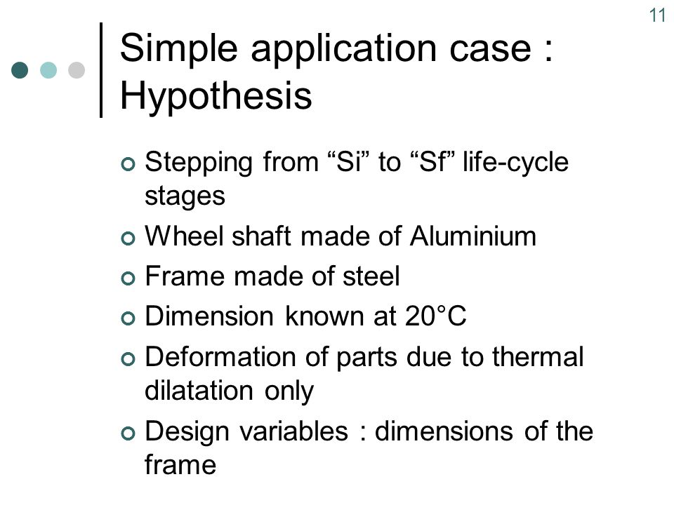 11 Simple application case : Hypothesis Stepping from Si to Sf life-cycle stages Wheel shaft made of Aluminium Frame made of steel Dimension known at 20°C Deformation of parts due to thermal dilatation only Design variables : dimensions of the frame