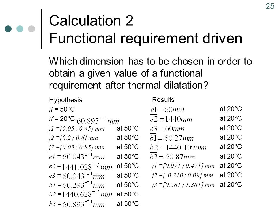 25 Calculation 2 Functional requirement driven Hypothesis ti = 50°C tf = 20°C j1 = [0.05 ; 0.45] mm at 50°C j2 = [0.2 ; 0.6] mm at 50°C j3 = [0.05 ; 0.85] mm at 50°C e1 =at 50°C e2 =at 50°C e3 =at 50°C b1 =at 50°C b2 =at 50°C b3 =at 50°C Results at 20°C j1 = [0.071 ; 0.471] mm at 20°C j2 = [-0.310 ; 0.09] mm at 20°C j3 = [0.581 ; 1.381] mm at 20°C Which dimension has to be chosen in order to obtain a given value of a functional requirement after thermal dilatation