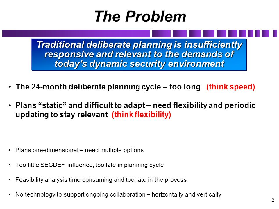 """2 The Problem The 24-month deliberate planning cycle – too long (think speed) Plans """"static"""" and difficult to adapt – need flexibility and periodic up"""