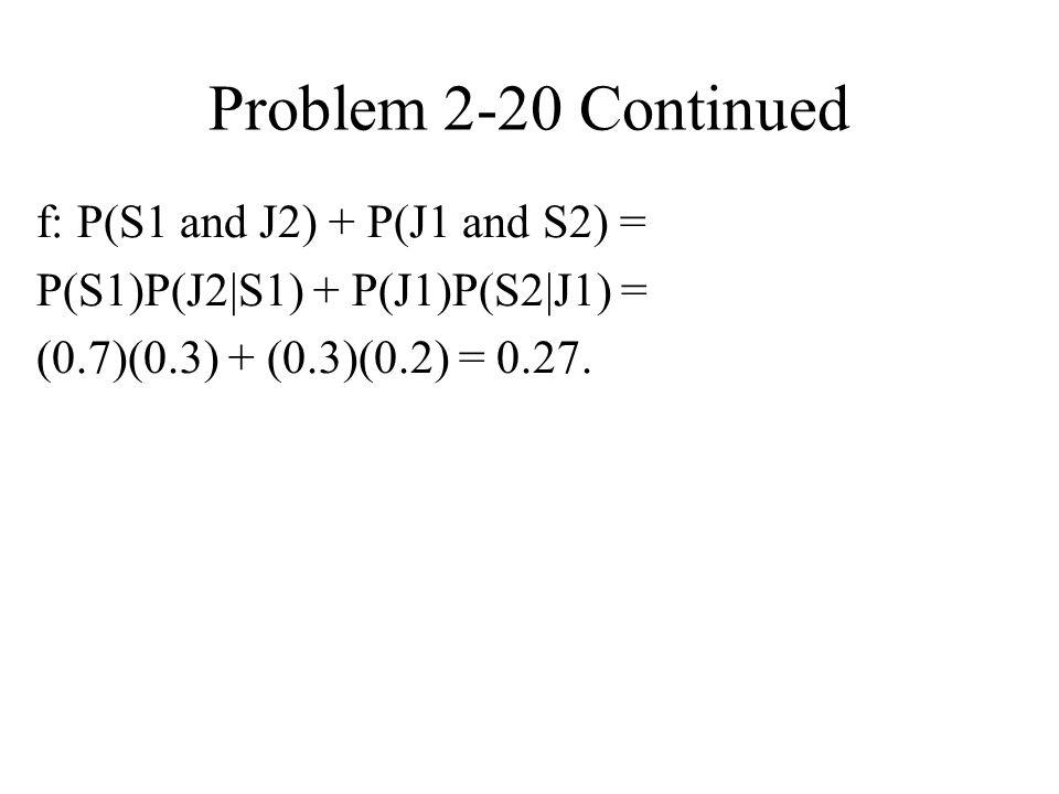 Problem 2-20 Continued f: P(S1 and J2) + P(J1 and S2) = P(S1)P(J2 S1) + P(J1)P(S2 J1) = (0.7)(0.3) + (0.3)(0.2) = 0.27.