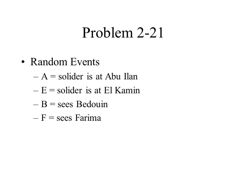 Problem 2-21 Random Events –A = solider is at Abu Ilan –E = solider is at El Kamin –B = sees Bedouin –F = sees Farima