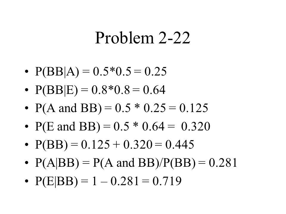 Problem 2-22 P(BB A) = 0.5*0.5 = 0.25 P(BB E) = 0.8*0.8 = 0.64 P(A and BB) = 0.5 * 0.25 = 0.125 P(E and BB) = 0.5 * 0.64 = 0.320 P(BB) = 0.125 + 0.320 = 0.445 P(A BB) = P(A and BB)/P(BB) = 0.281 P(E BB) = 1 – 0.281 = 0.719