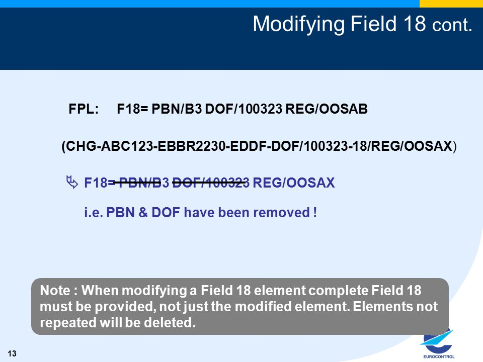 13 Modifying Field 18 cont. (CHG-ABC123-EBBR2230-EDDF-DOF/100323-18/REG/OOSAX)  F18= PBN/B3 DOF/100323 REG/OOSAX i.e. PBN & DOF have been removed ! F