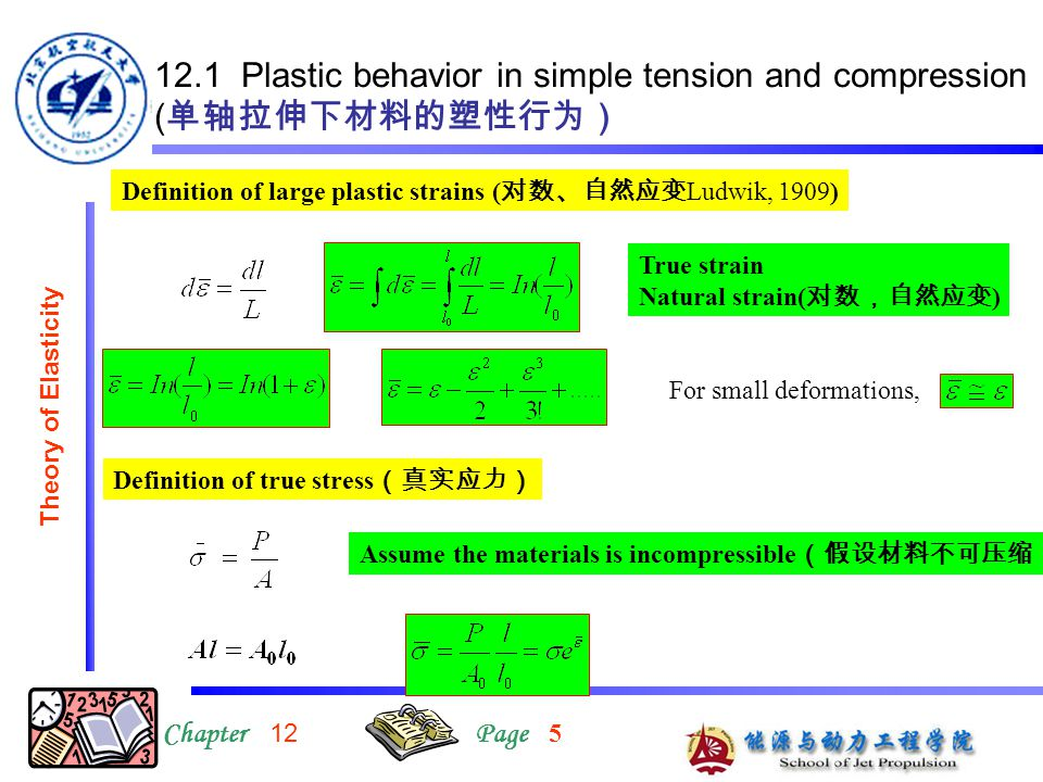 12.1 Plastic behavior in simple tension and compression ( 单轴拉伸下材料的塑性行为) ChapterPage Theory of Elasticity Definition of large plastic strains ( 对数、自然应变