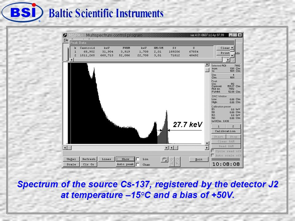 Spectrum of the source Cs-137, registered by the detector J2 at temperature –15°С and a bias of +50V.