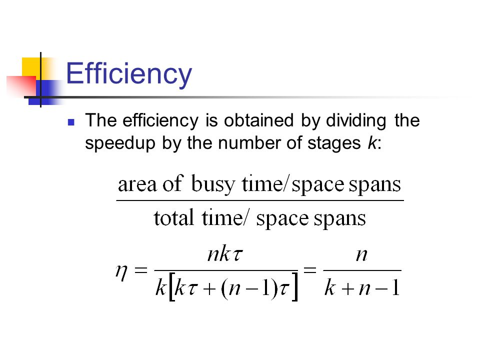 Efficiency The efficiency is obtained by dividing the speedup by the number of stages k: