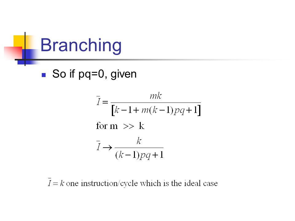 Branching So if pq=0, given