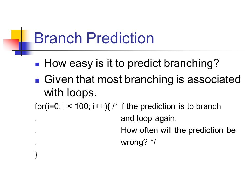 Branch Prediction How easy is it to predict branching.