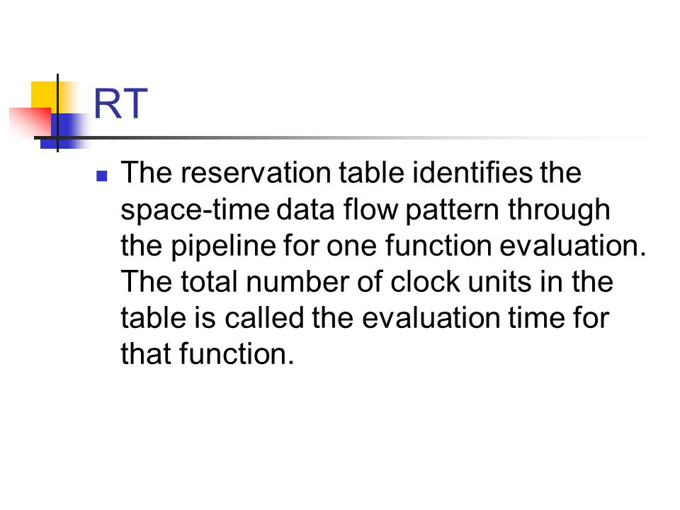 RT The reservation table identifies the space-time data flow pattern through the pipeline for one function evaluation.