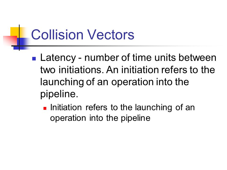 Collision Vectors Latency - number of time units between two initiations.