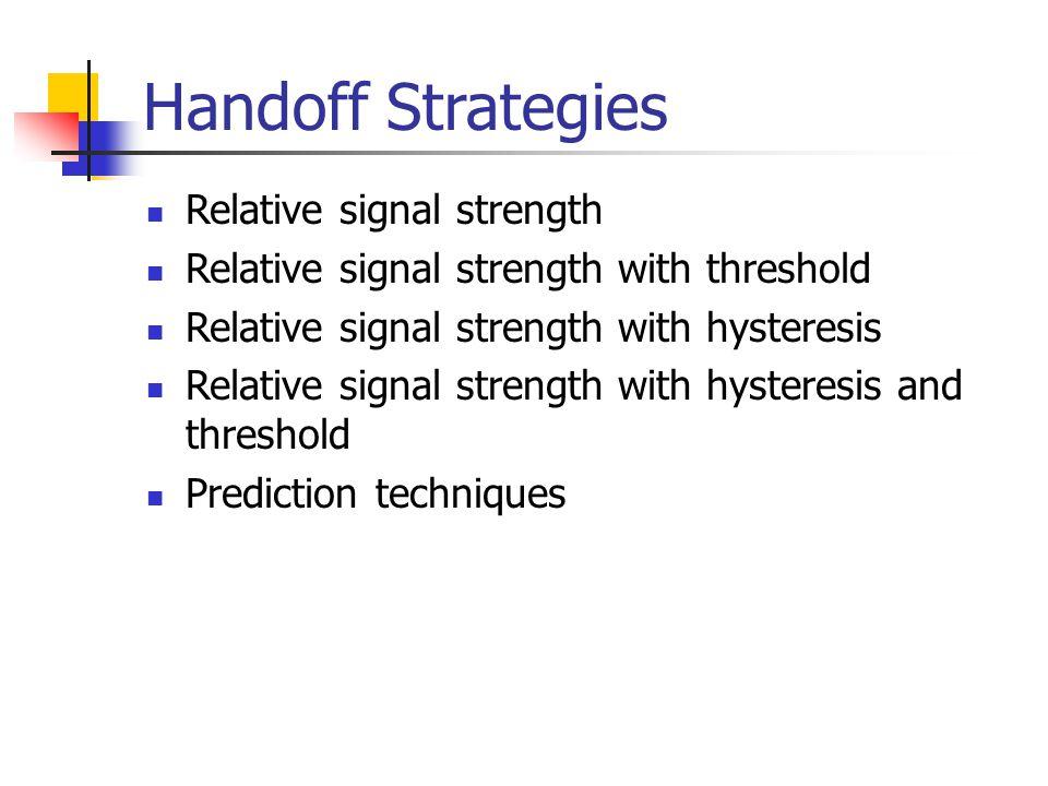 Handoff Strategies Relative signal strength Relative signal strength with threshold Relative signal strength with hysteresis Relative signal strength