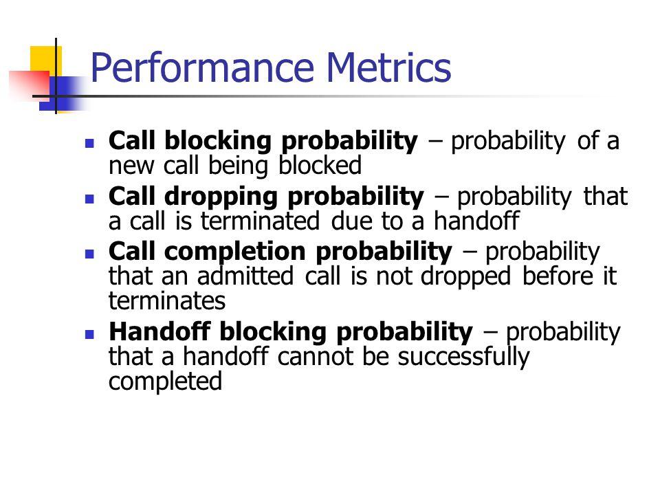 Performance Metrics Call blocking probability – probability of a new call being blocked Call dropping probability – probability that a call is termina
